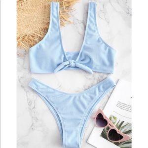 NWT Zaful Tie Front Ribbed Bikini Set- Sky Blue